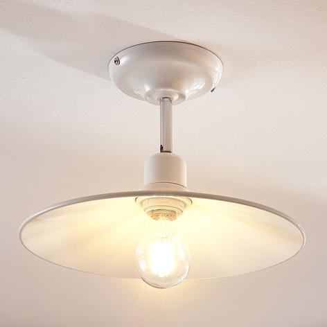 Lámpara de techo metálica Phinea blanca, vintage
