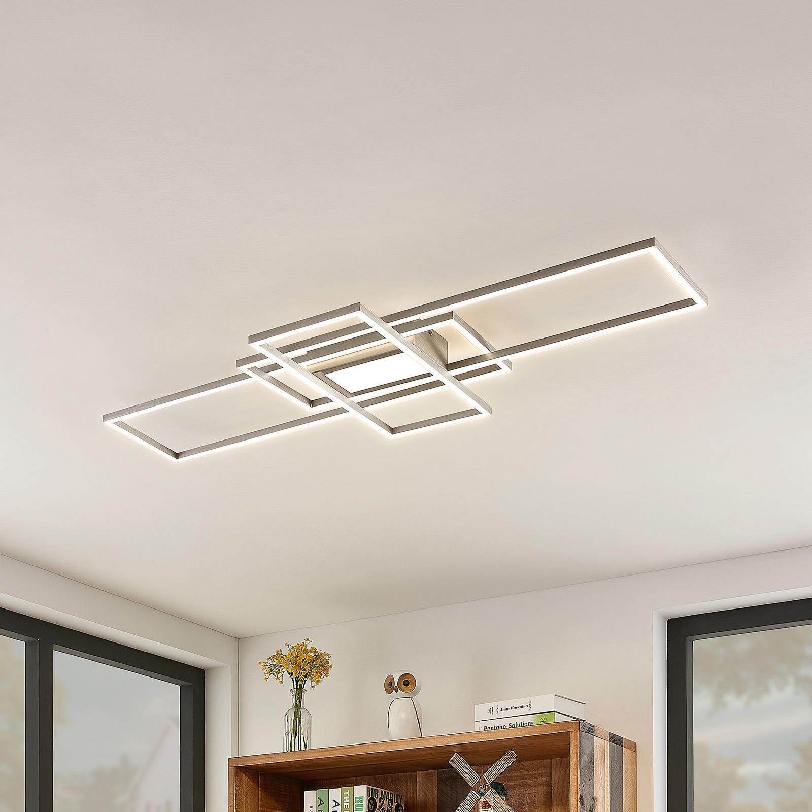 Lindby Mairin LED-Deckenleuchte, nickel matt