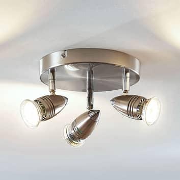 LED stropní reflektor Benina, 3zdrojový, kulatý