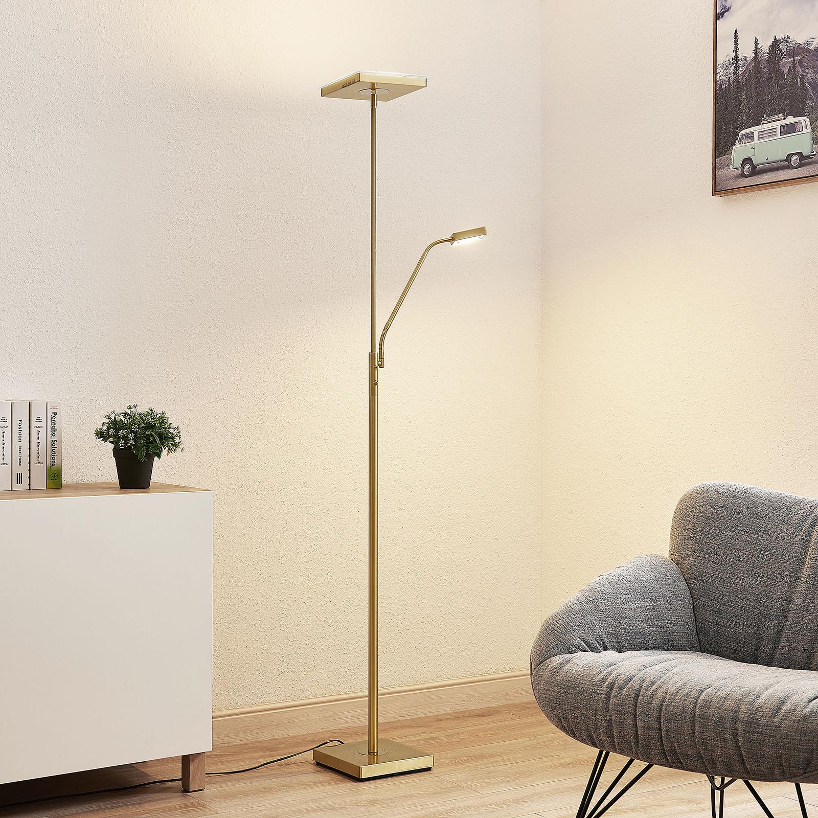 Lindby Sumani lampa stojąca LED, kątowa, mosiądz