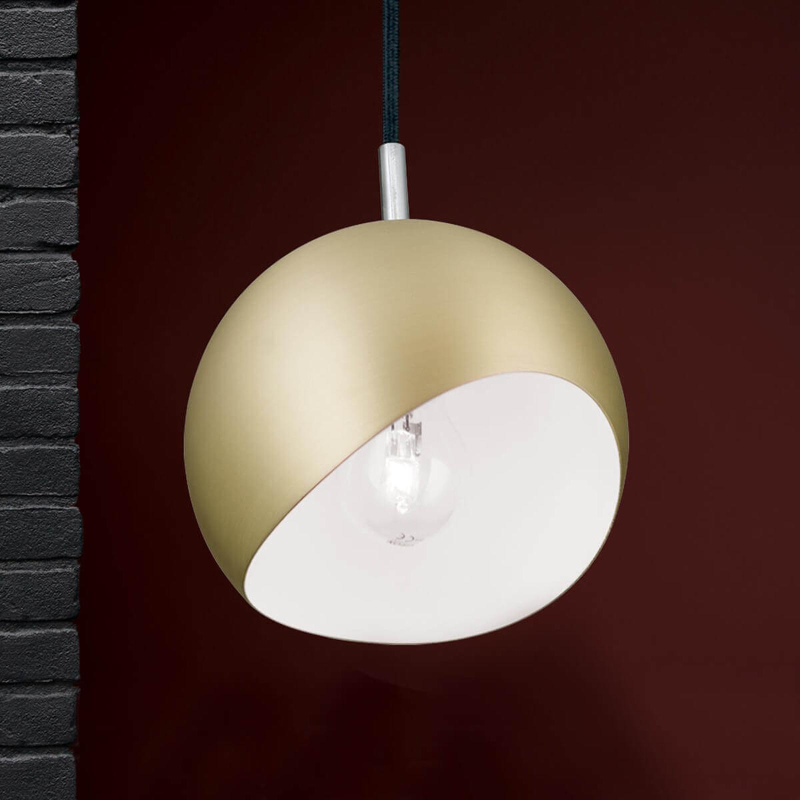 Okrągła lampa wisząca Bowl, złoty matowy