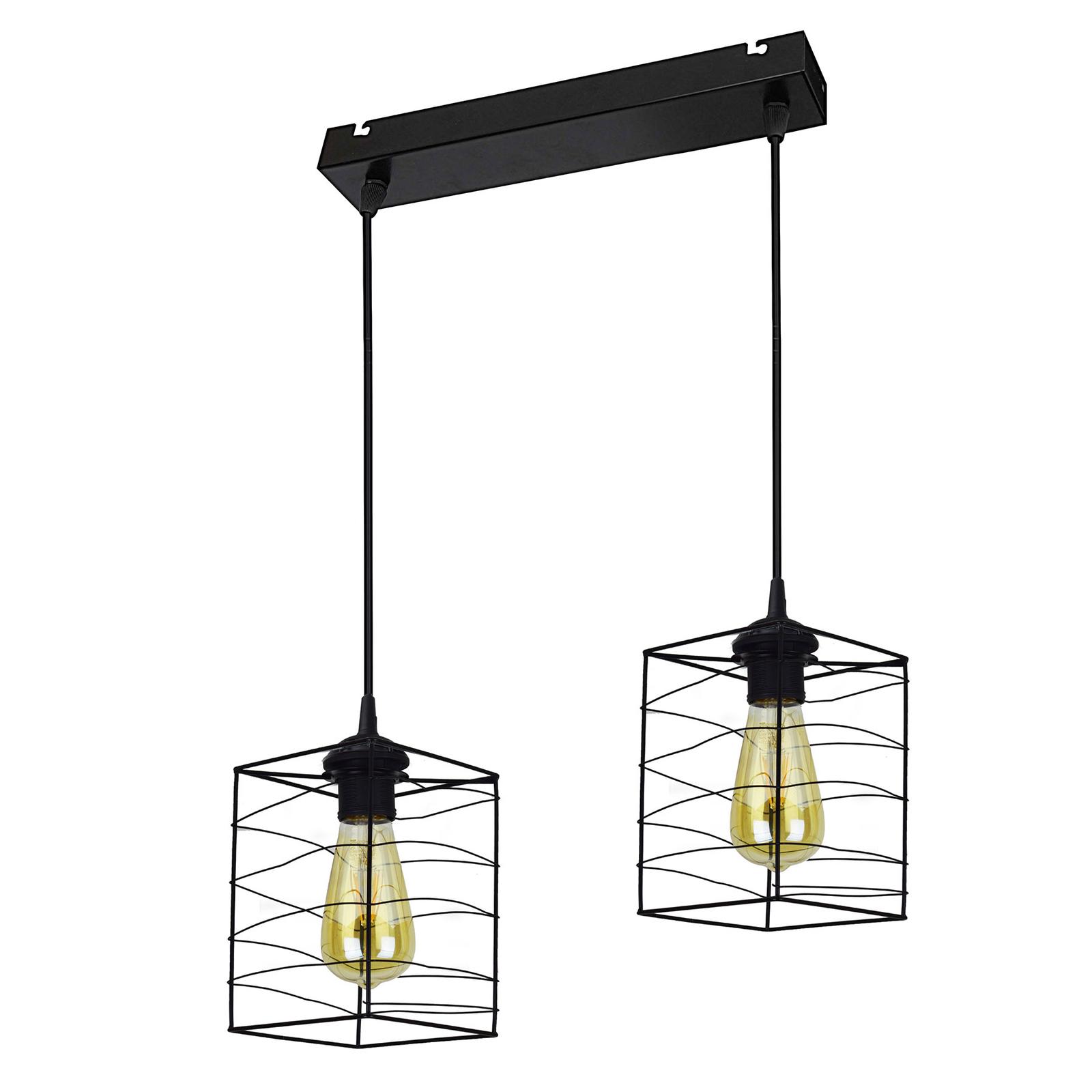 Suspension Dantos, à 2 lampes, noire
