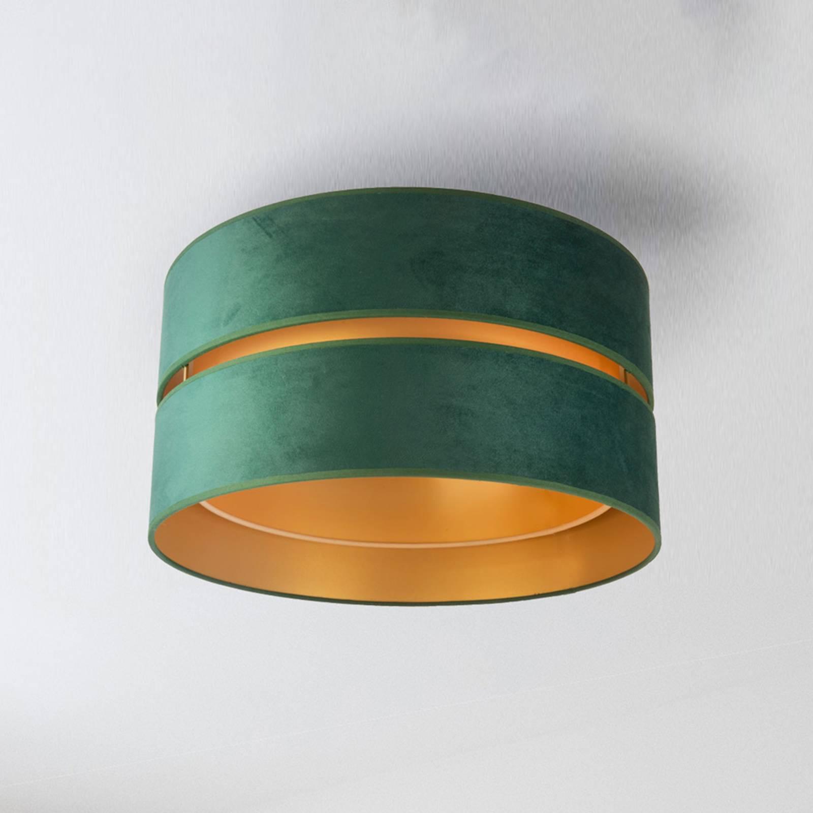 Deckenleuchte Duo aus Textil, grün/gold