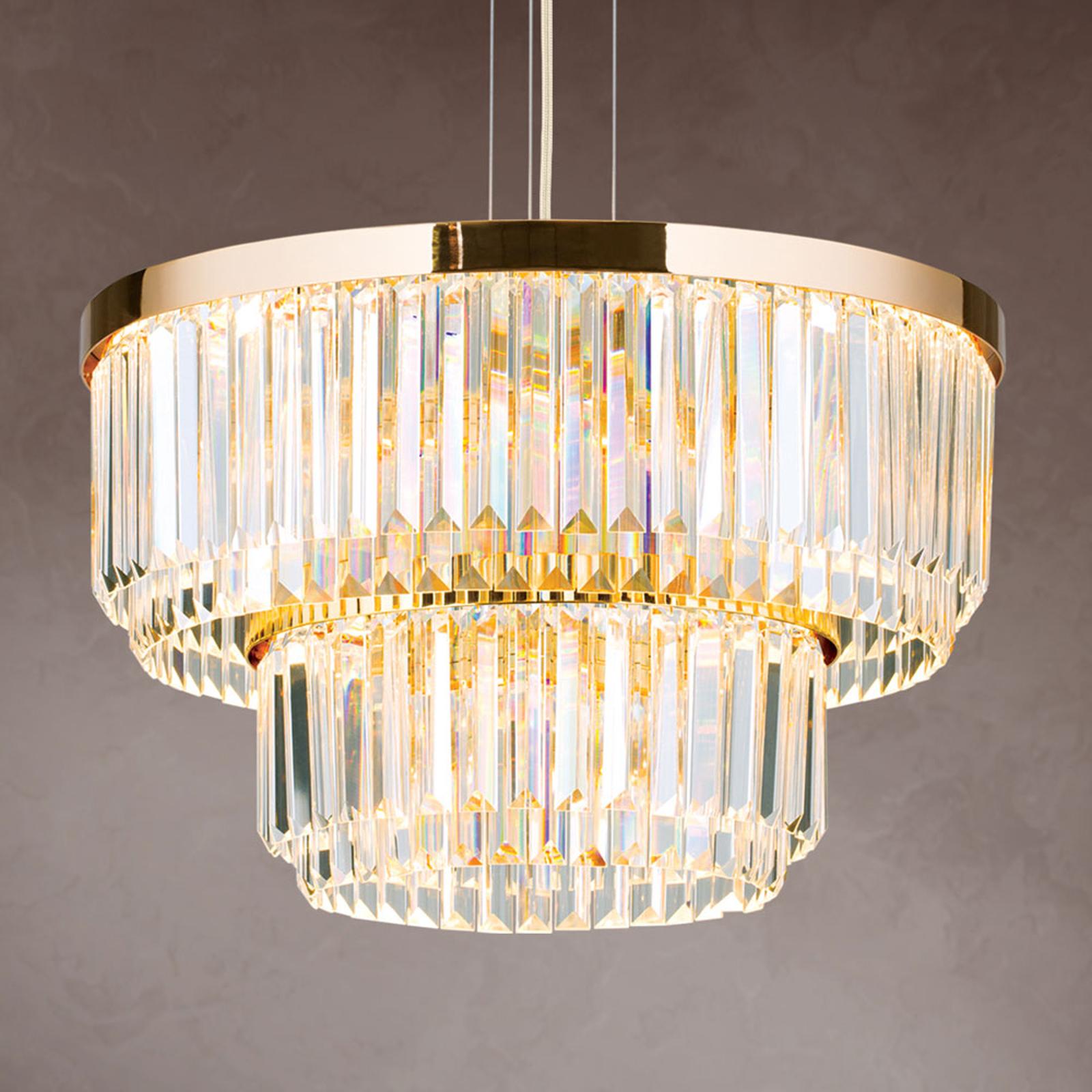 LED-hengelampe Prisme, rund, gull