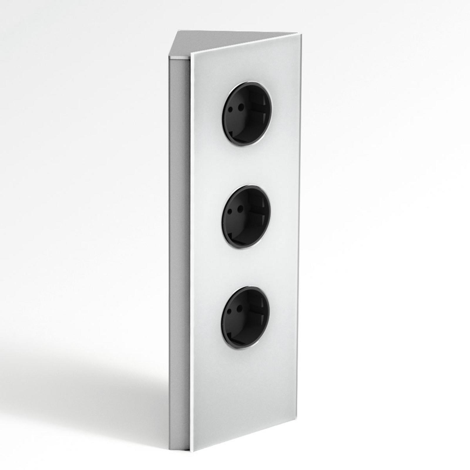 Edelstahl-Steckdosenleiste Power, 3er, Dreieck