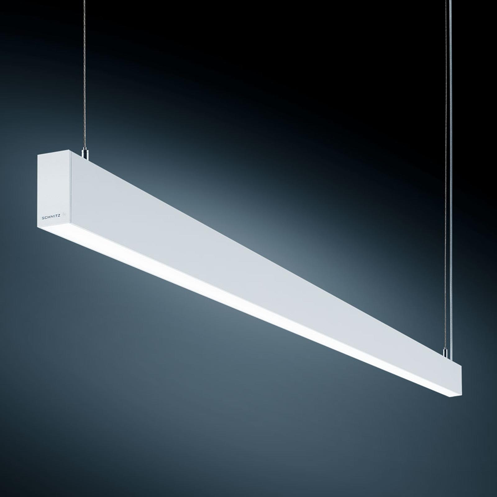 Witte LED hanglamp S55 v. werken met beeldscherm