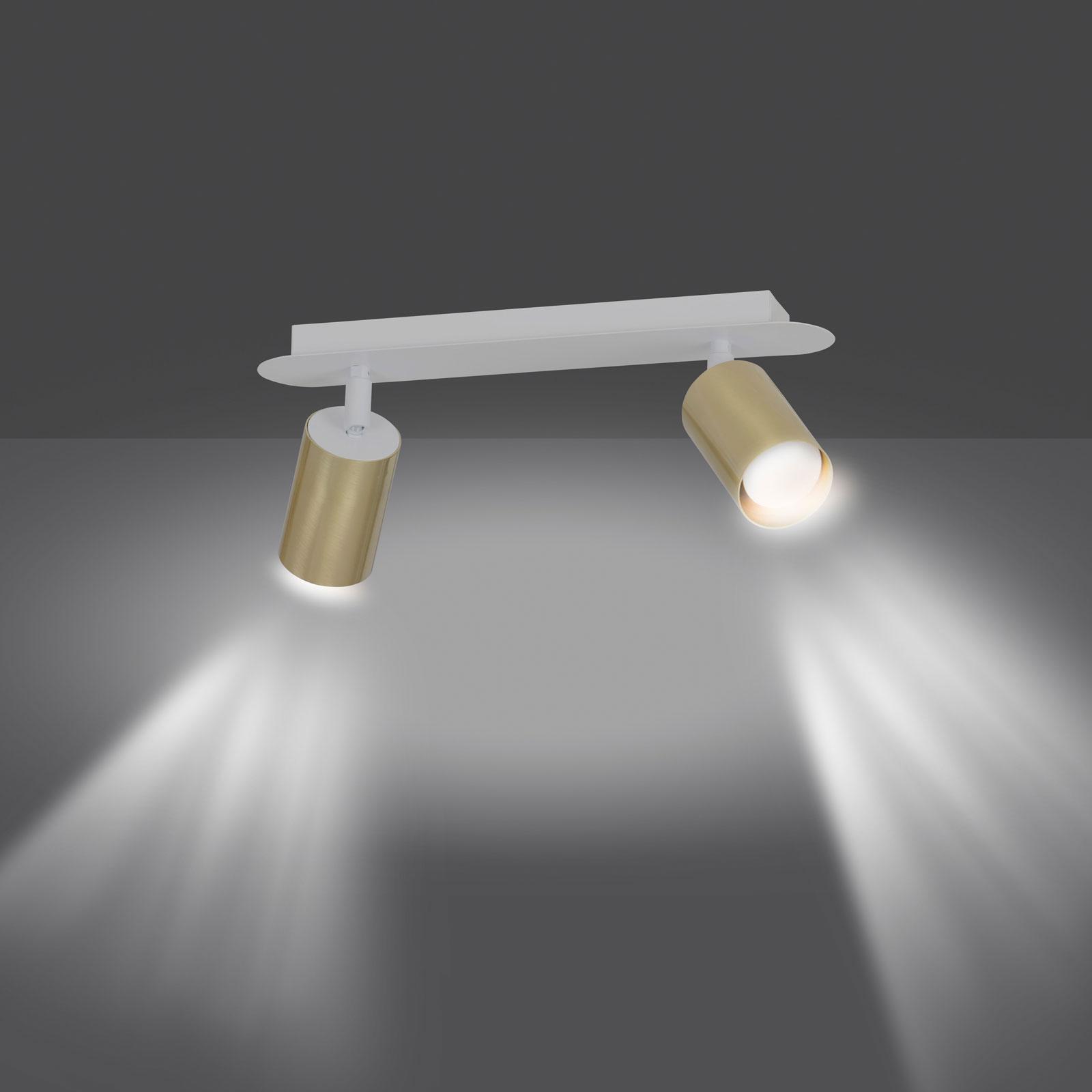 Deckenstrahler Zen 2 mit 2 Spots, weiß-gold