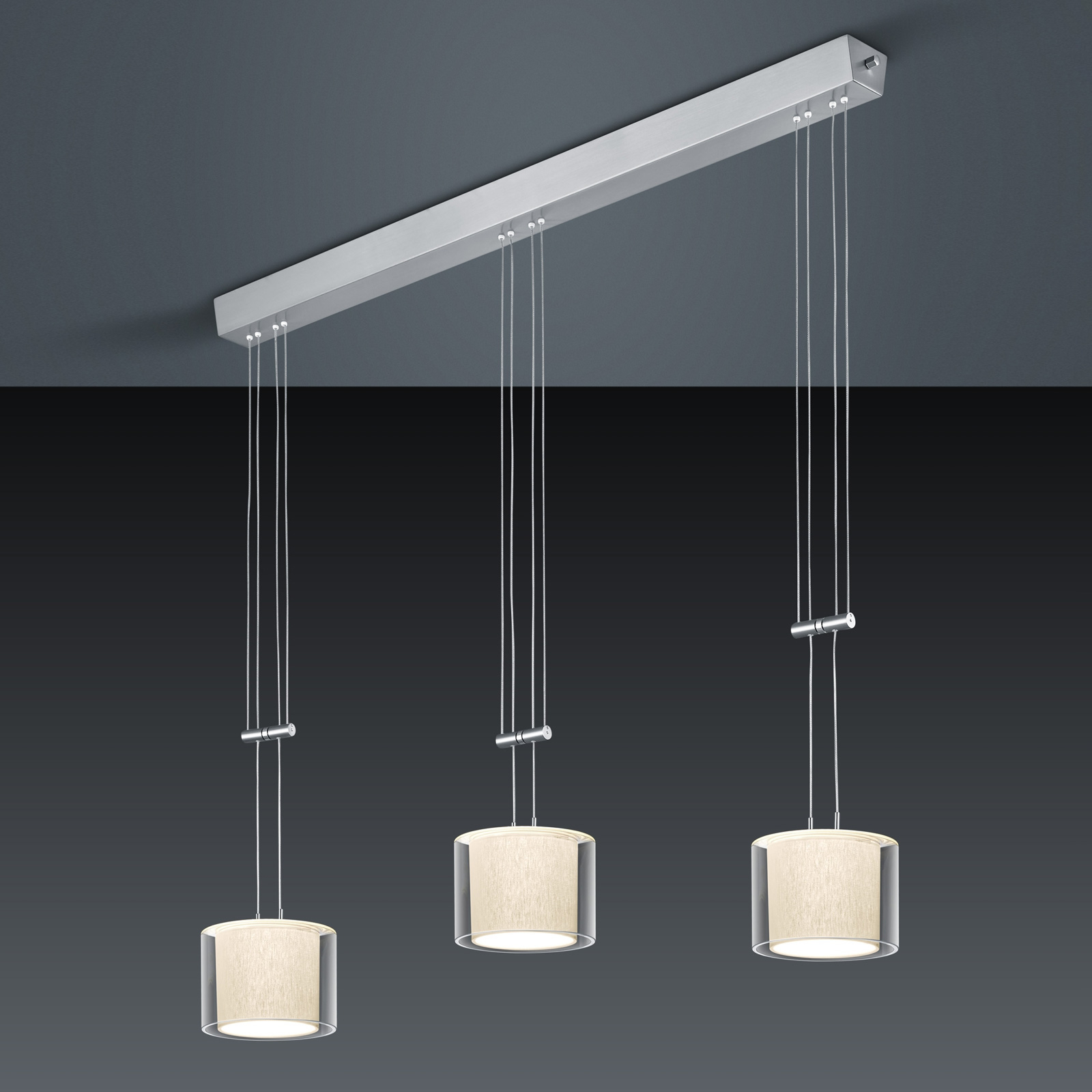 BANKAMP Cecil suspension LED, à 3 lampes