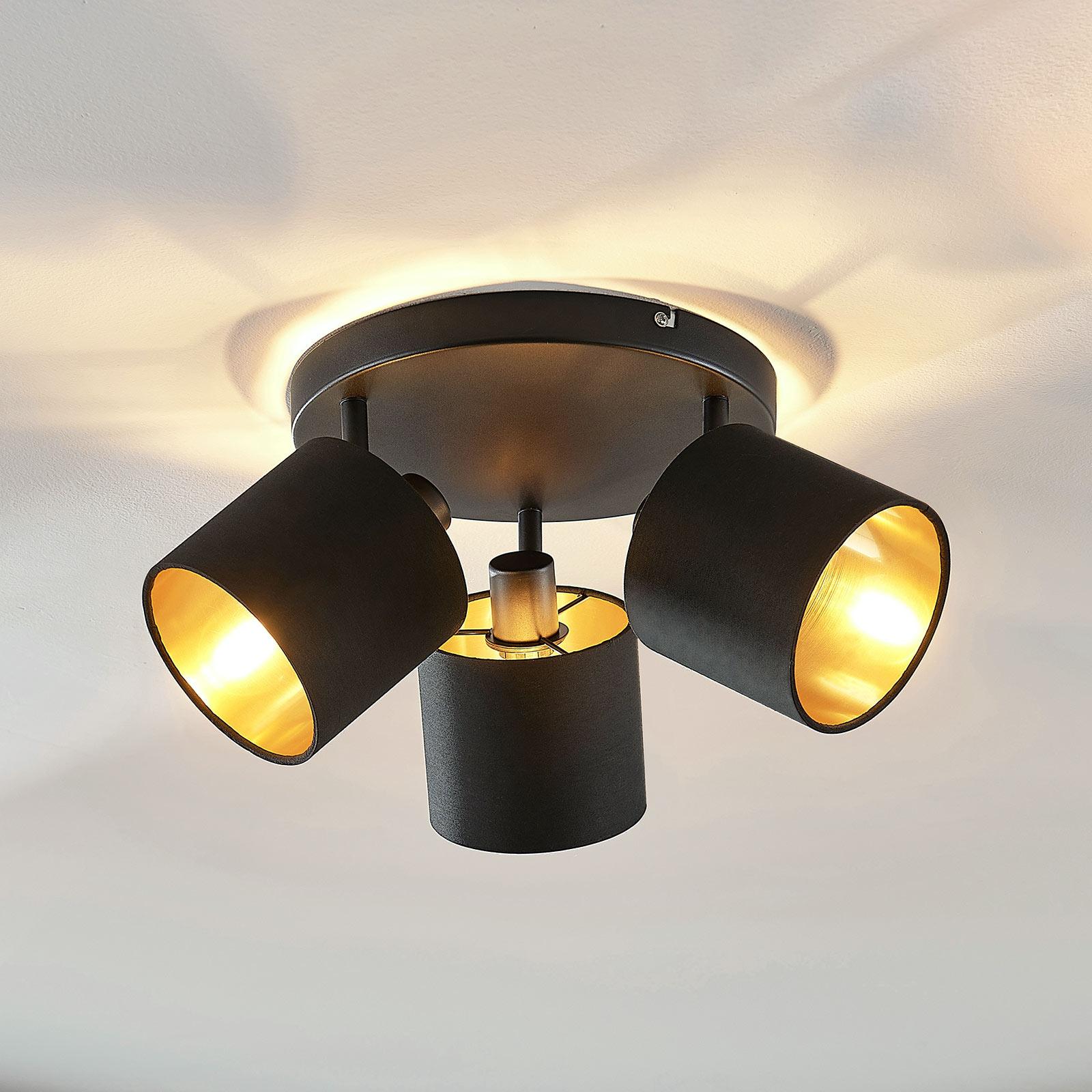 Lámpara de techo textil Vasilia negro-oro 3 brazos