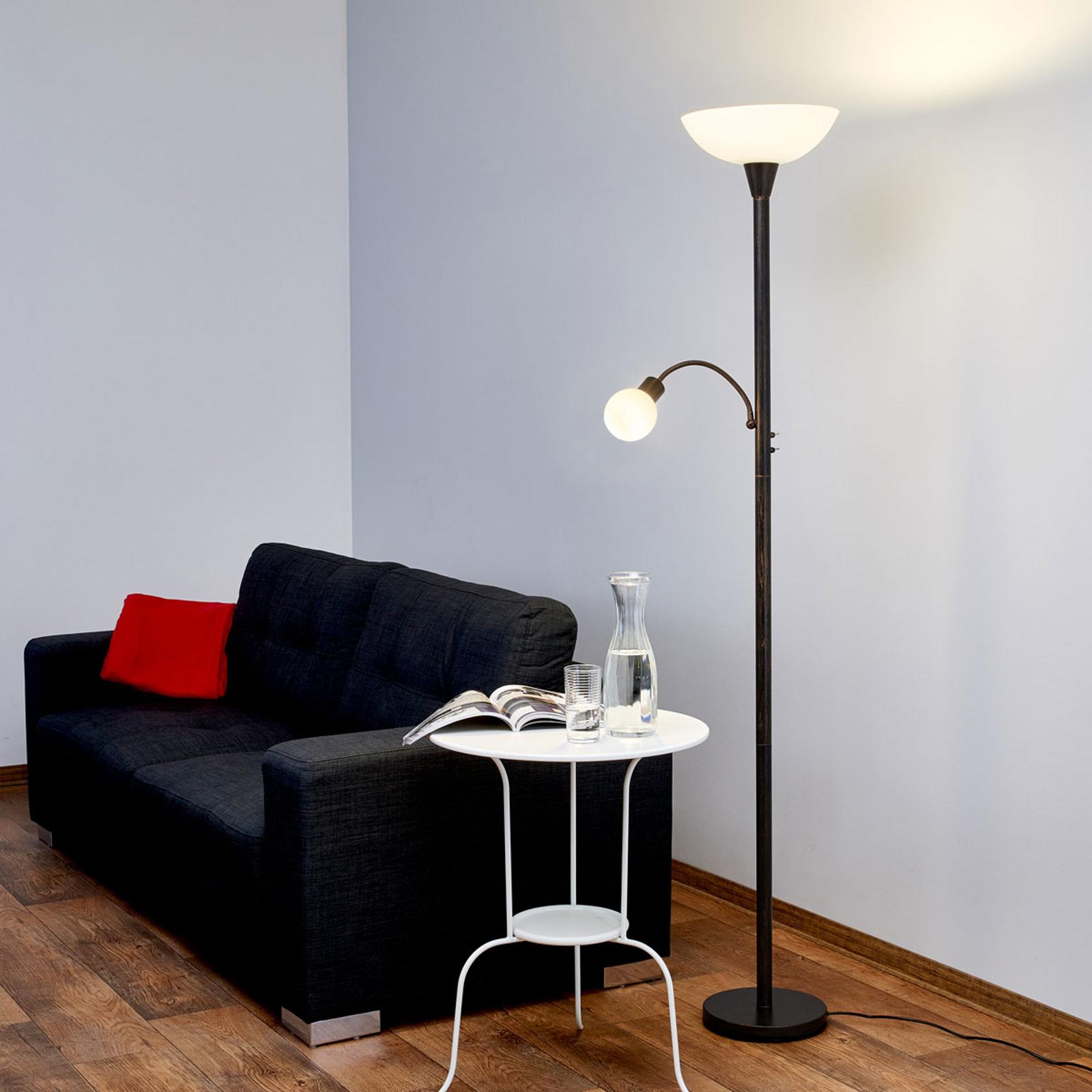 Rostfärgad LED-golvlampa Elaina med läslampa