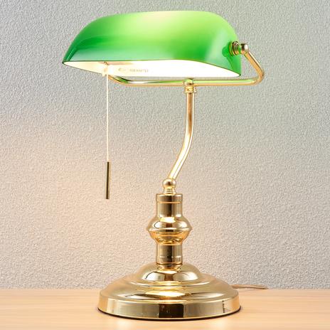 Lampa bankierska Milenka, mosiądz polerowany