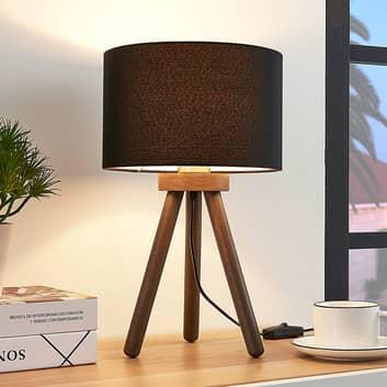 Tekstylna lampa stołowa Majken – ciemnoszara/czerń