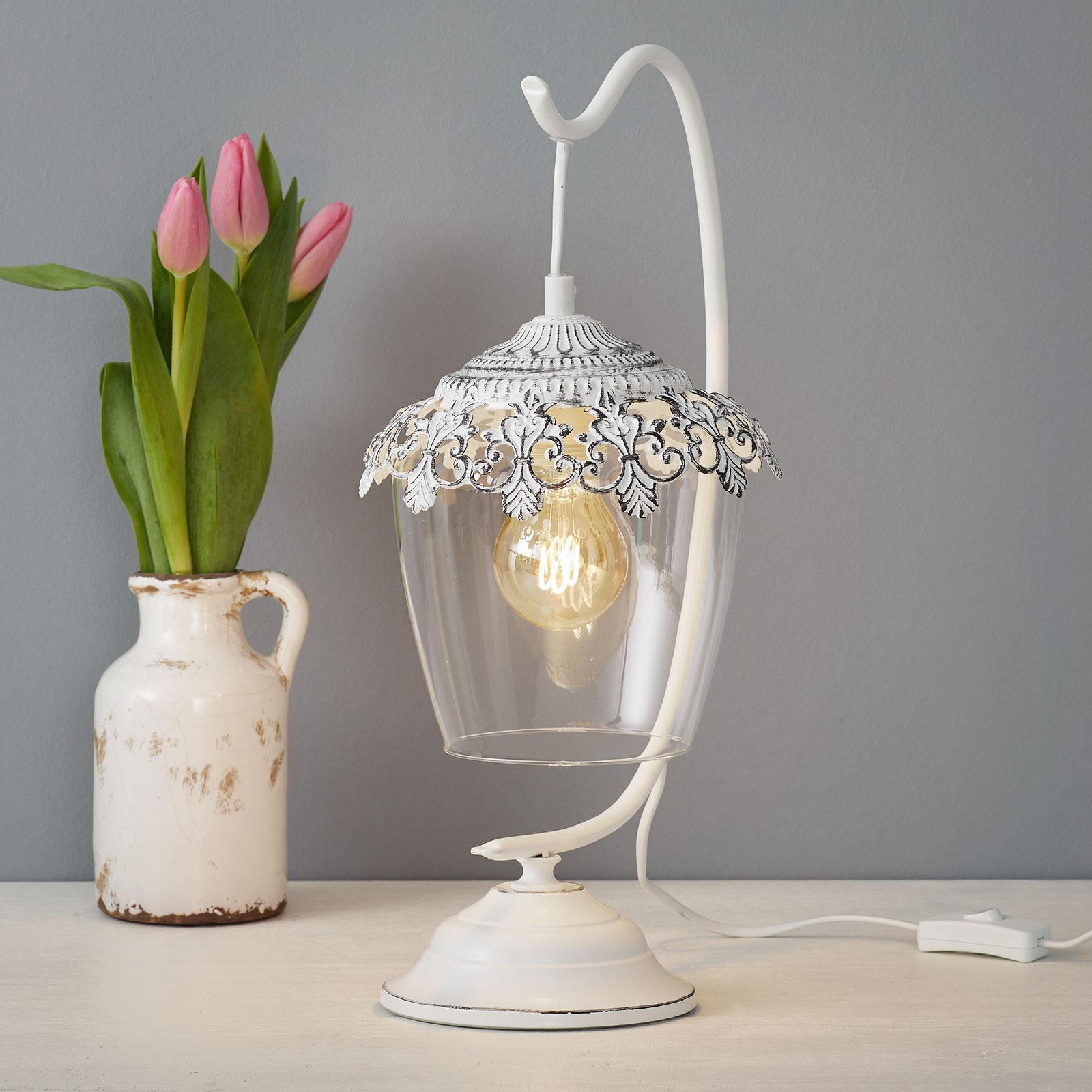 Hvitpatinert bordlampe Florinia