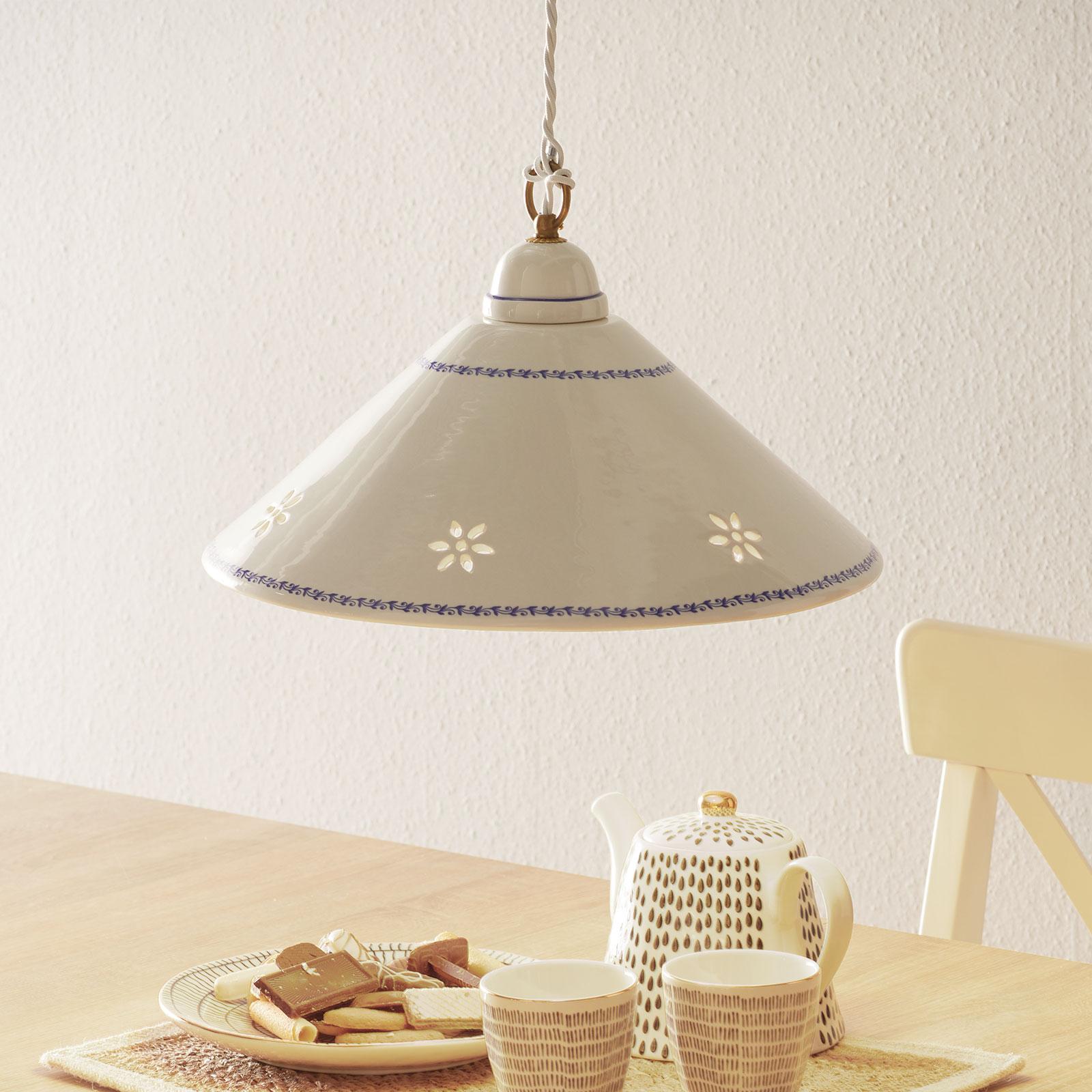 Witte hanglamp NONNA van keramiek, 40 cm