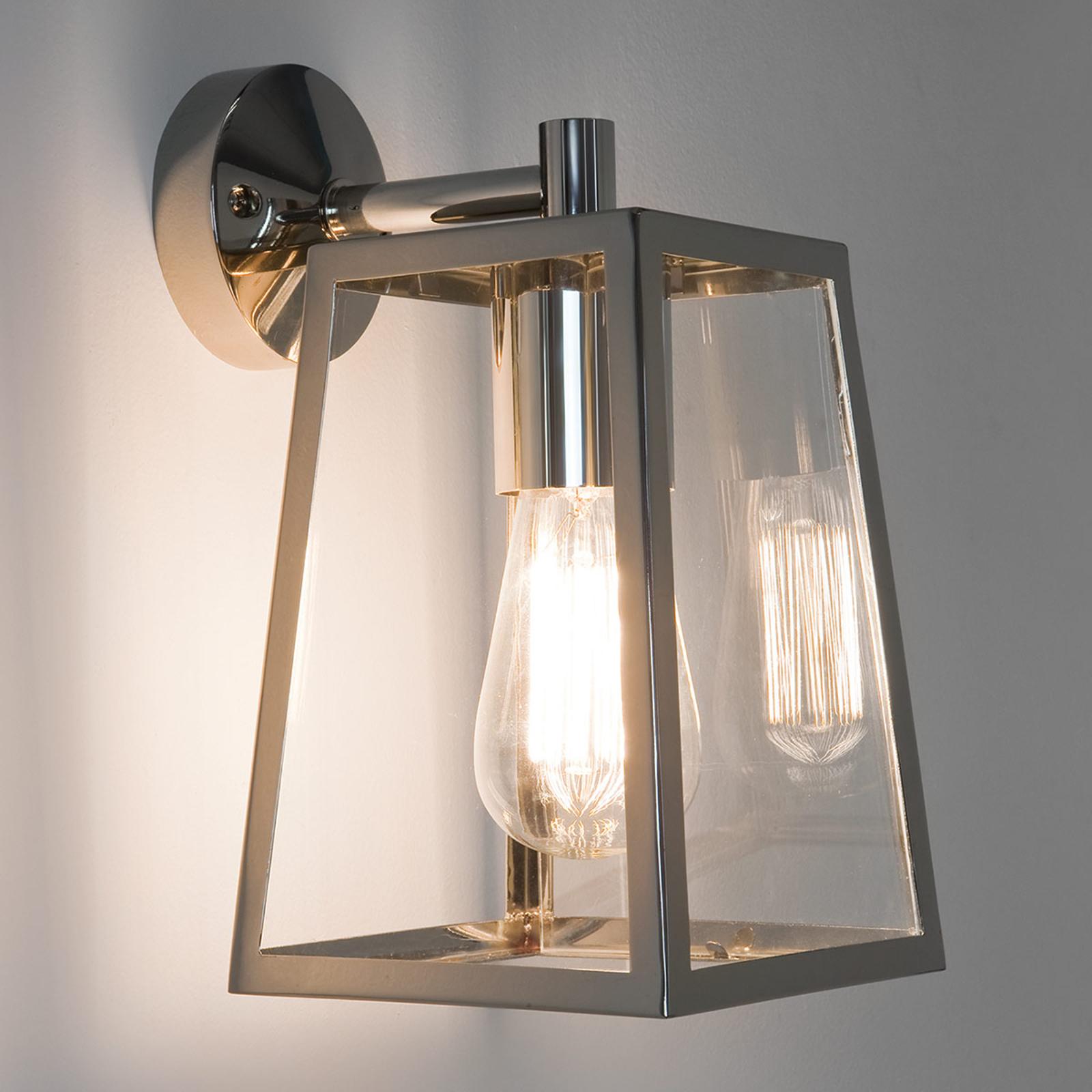 Utendørs vegglampe Calvi med lanterneform, nikkel
