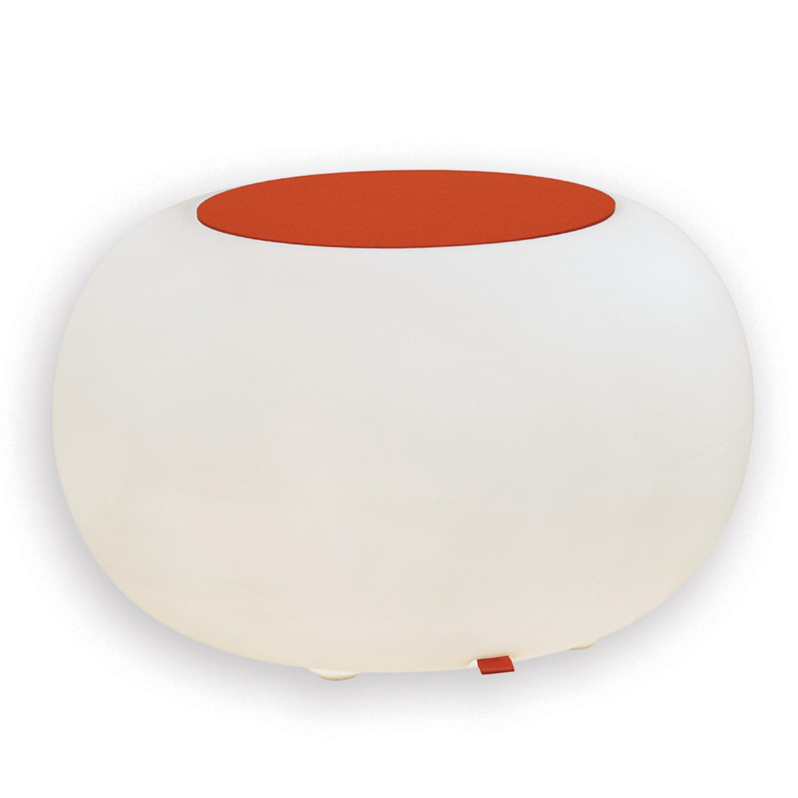 Table d'appoint BUBBLE blanche avec feutre orange