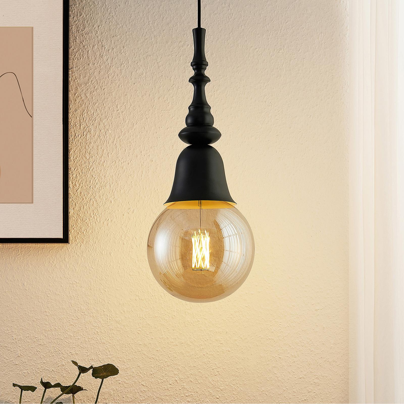 Lucande Gesja lampada a sospensione, 1 luce, nero