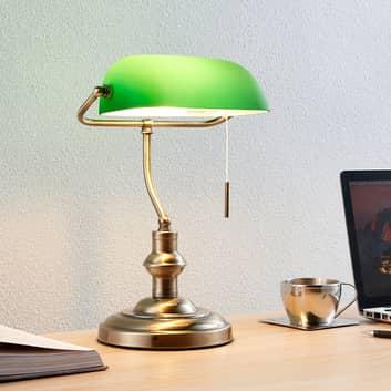 Milenka - lampa biurkowa z zielonym kloszem
