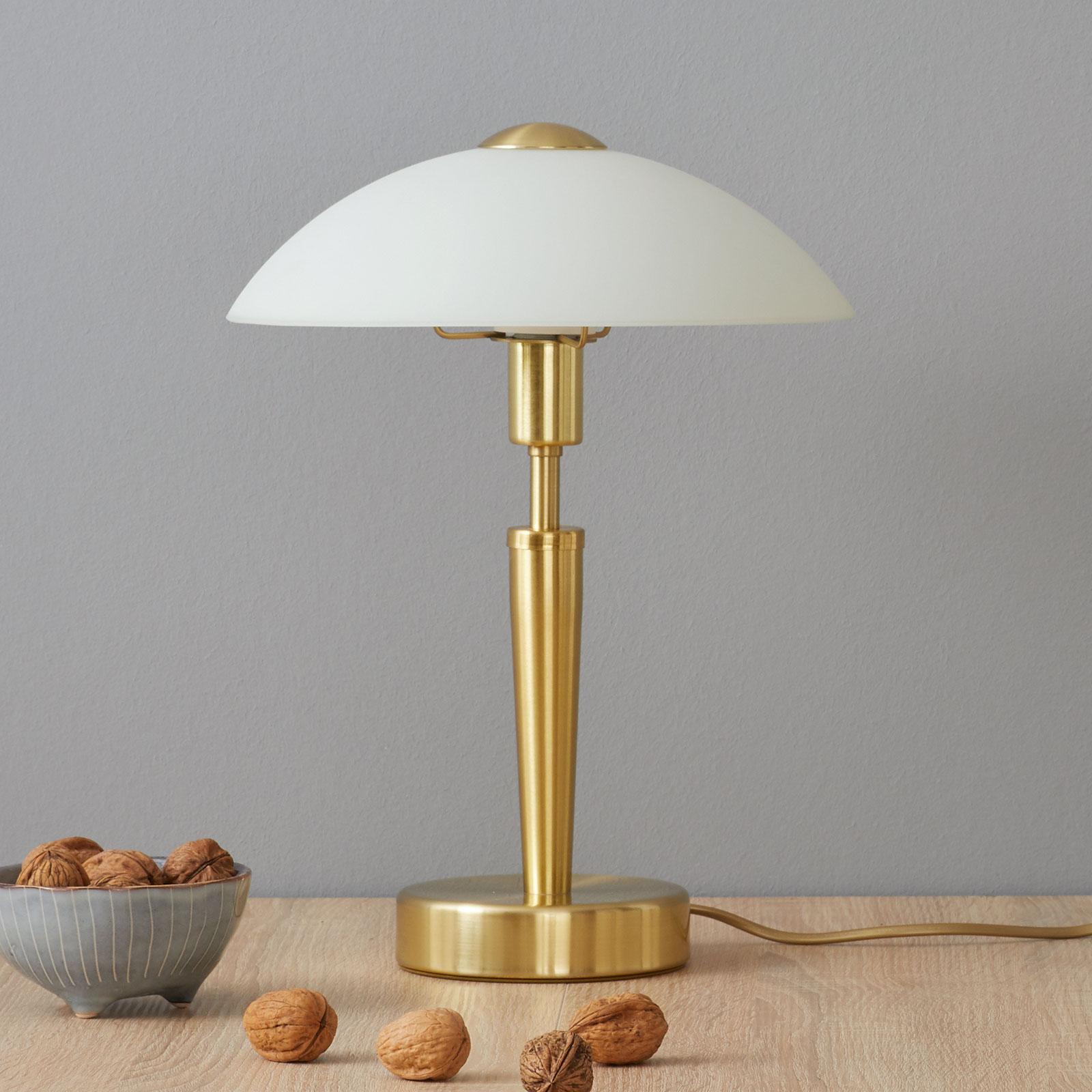 Elegante tafellamp Salut messing wit