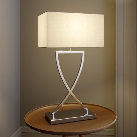 Lucande Evaine bordlampe krom, hvit skjerm