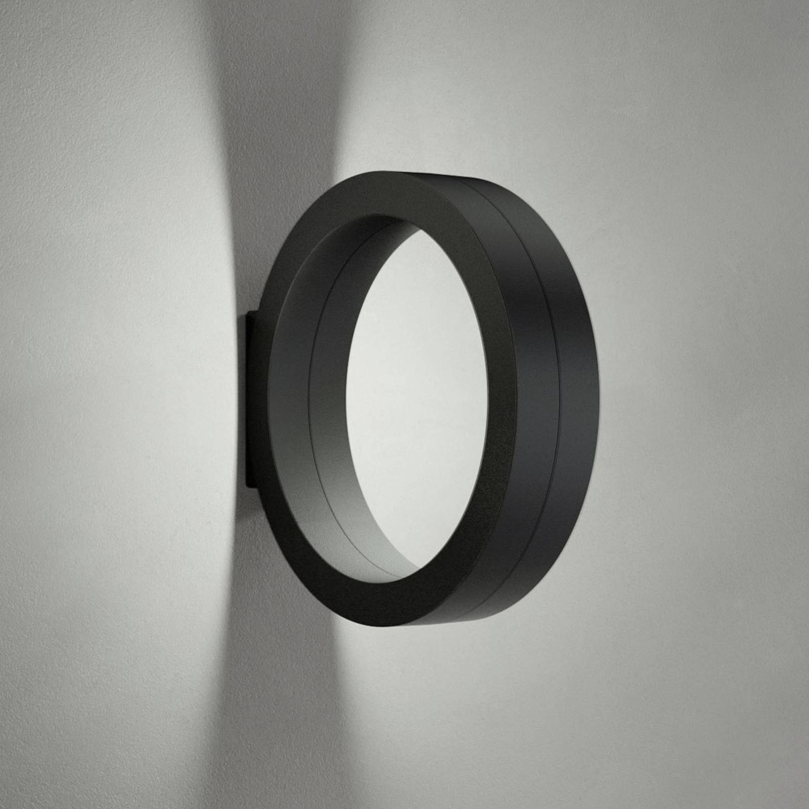 Applique LED Assolo en forme d'anneau, noire