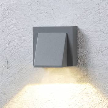 Silvergrå LED-utomhusvägglampa Marik
