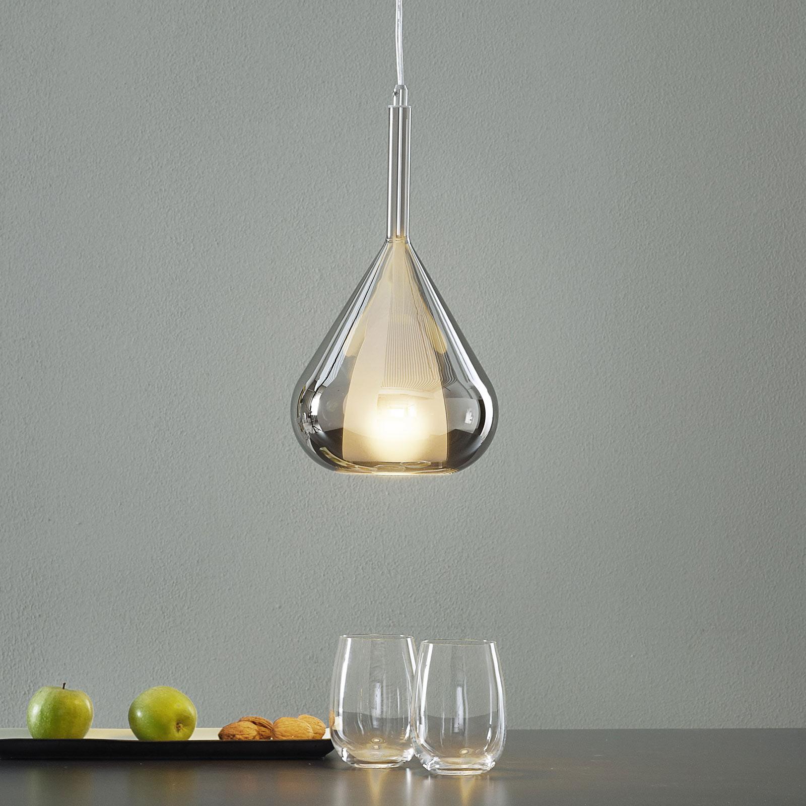 Lampa wisząca Lila, szklany klosz kropla, szara