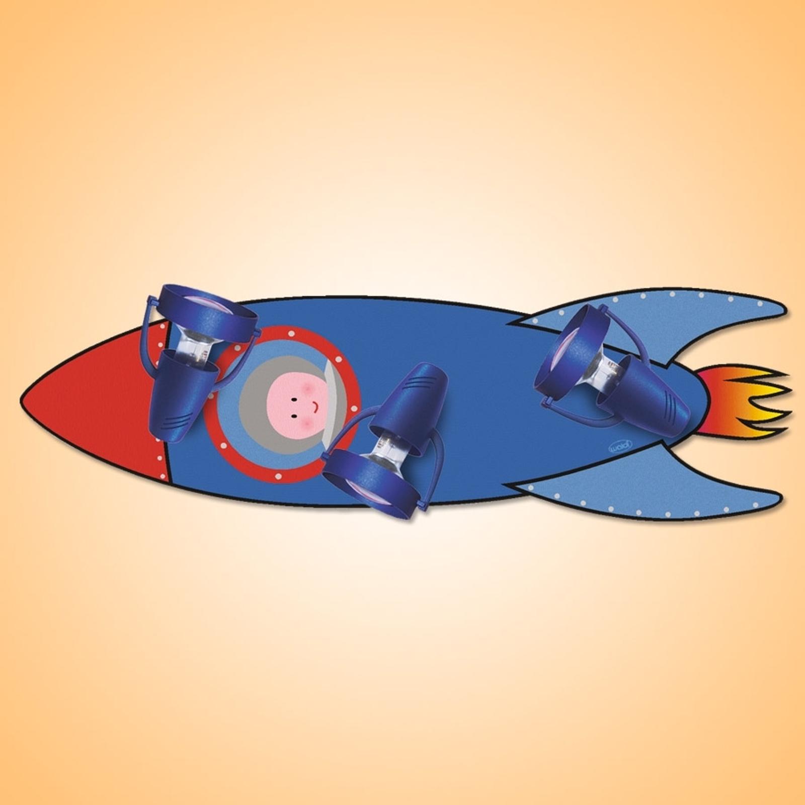 RAKKET, plafondlamp v.d. kinderkamer, blauw - rood