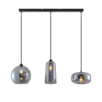 Lucande Wilja hængelampe, 3 lyskilder, røggrå