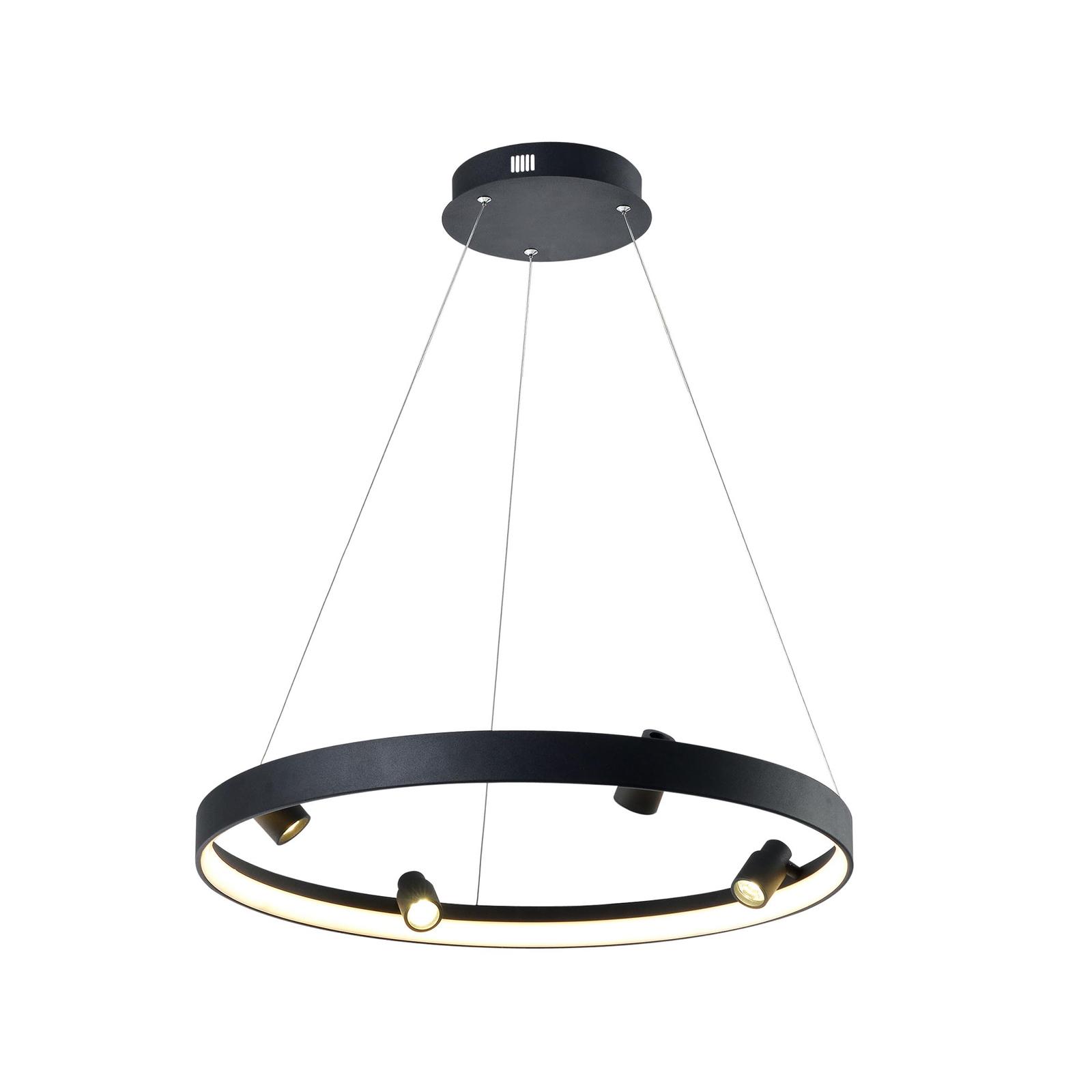 LED-Hängeleuchte Denis, kreisförmig mit vier Spots