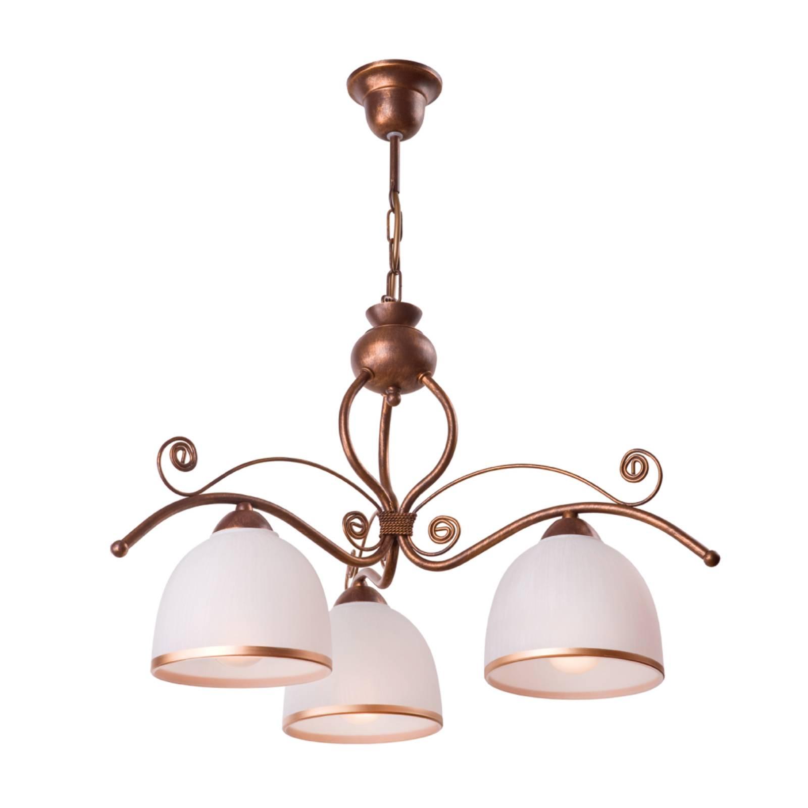 Suspension Roma en blanc et brun, à trois lampes