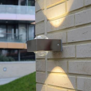Edelstahl-Außenwandleuchte Crystal mit LED
