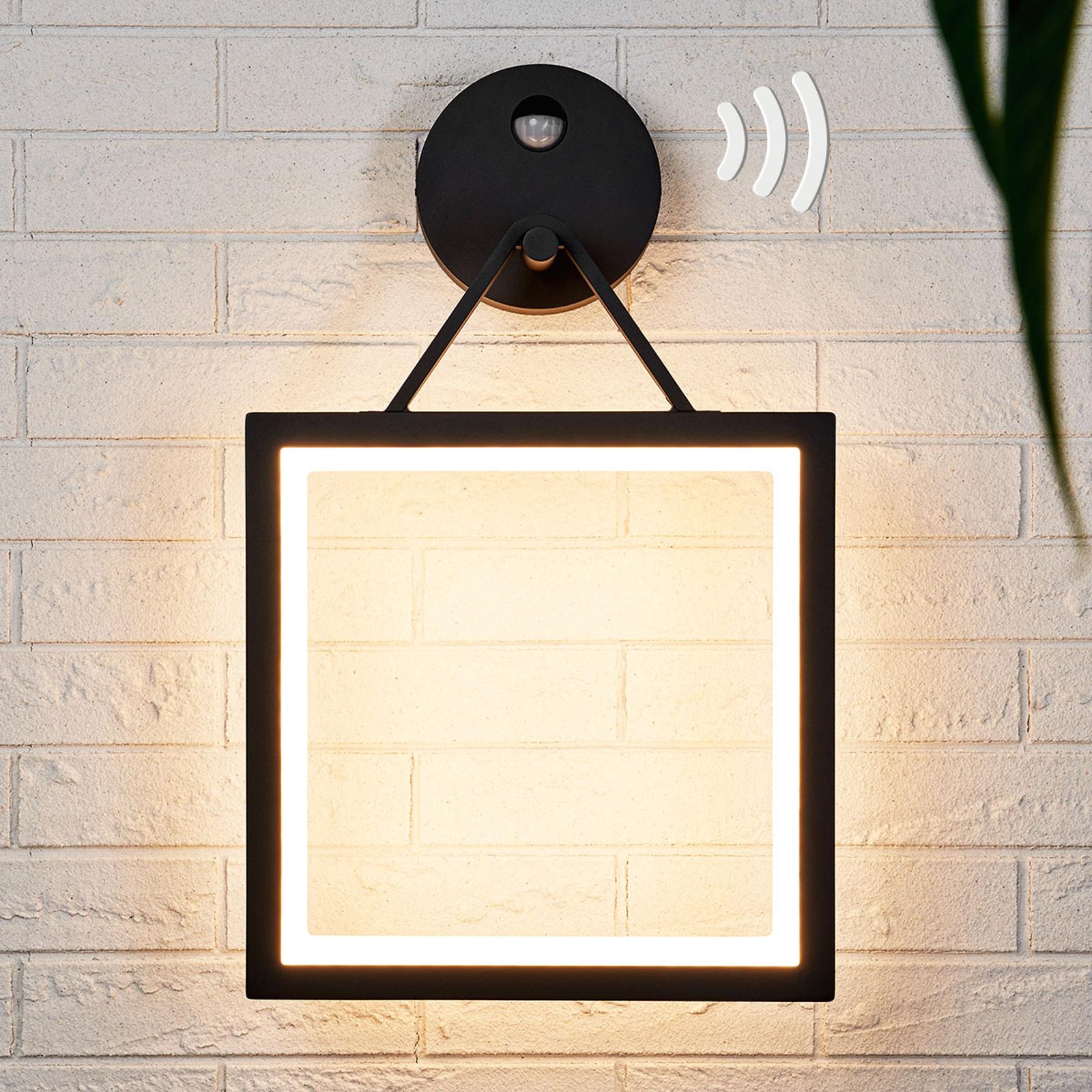 Firkantet LED-vegglampe Mirco med bevegelsessensor