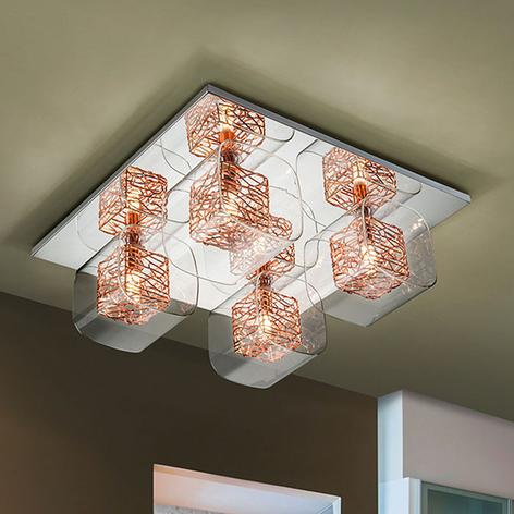LED-Deckenleuchte Lios mit 4 Doppelschirmen