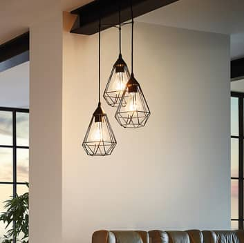 3-lichts Zwarte vintage hanglamp Tarbes