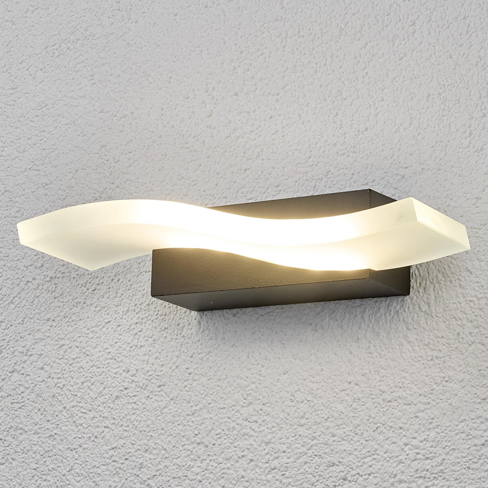 Golfvormige LED-buitenwandlamp Jirka