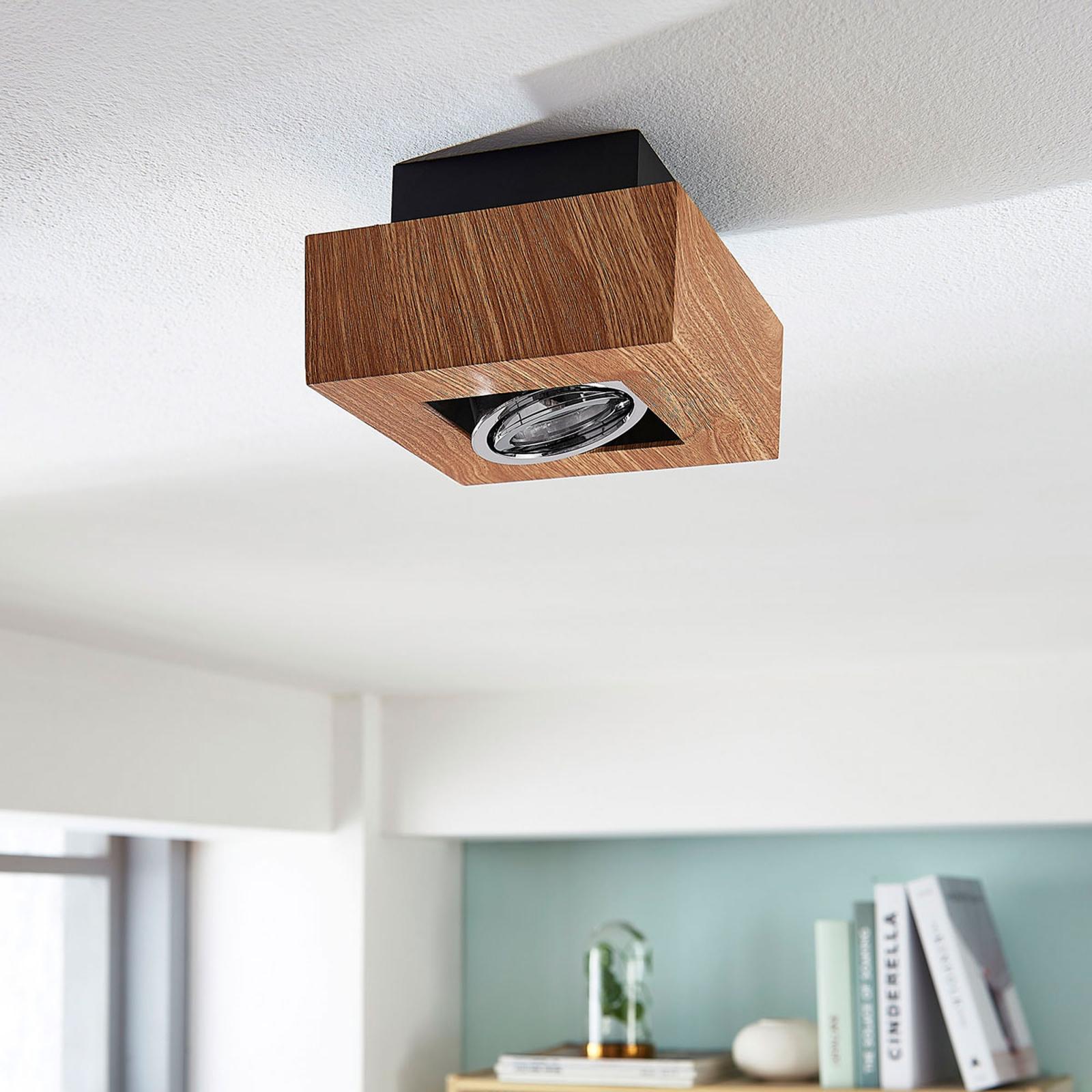 Plafonnier LED Vince, 14x14cm en aspect bois