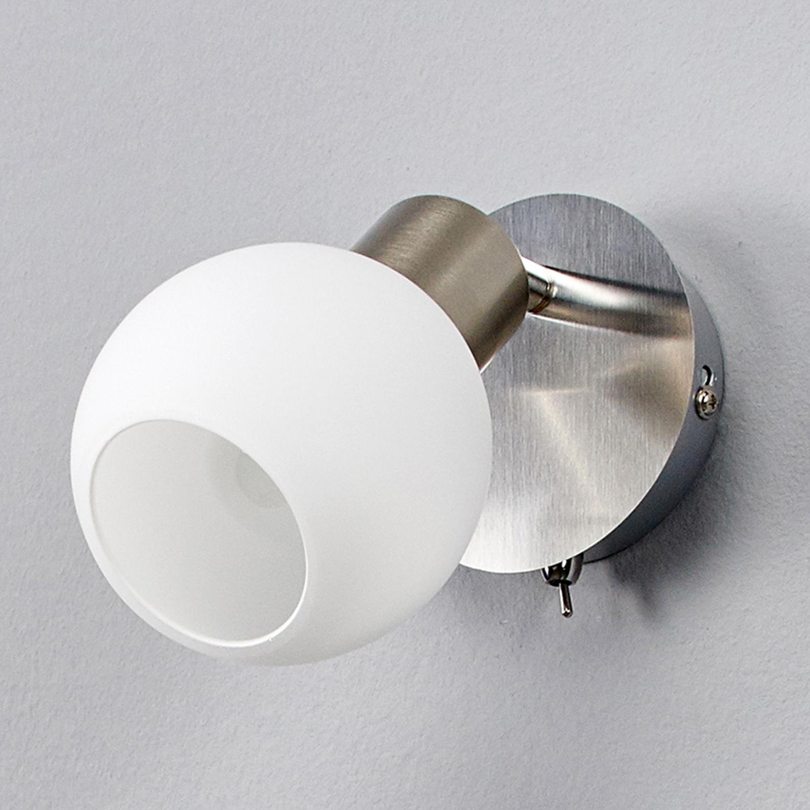 Elaina - faretto LED da parete, nichel satinato