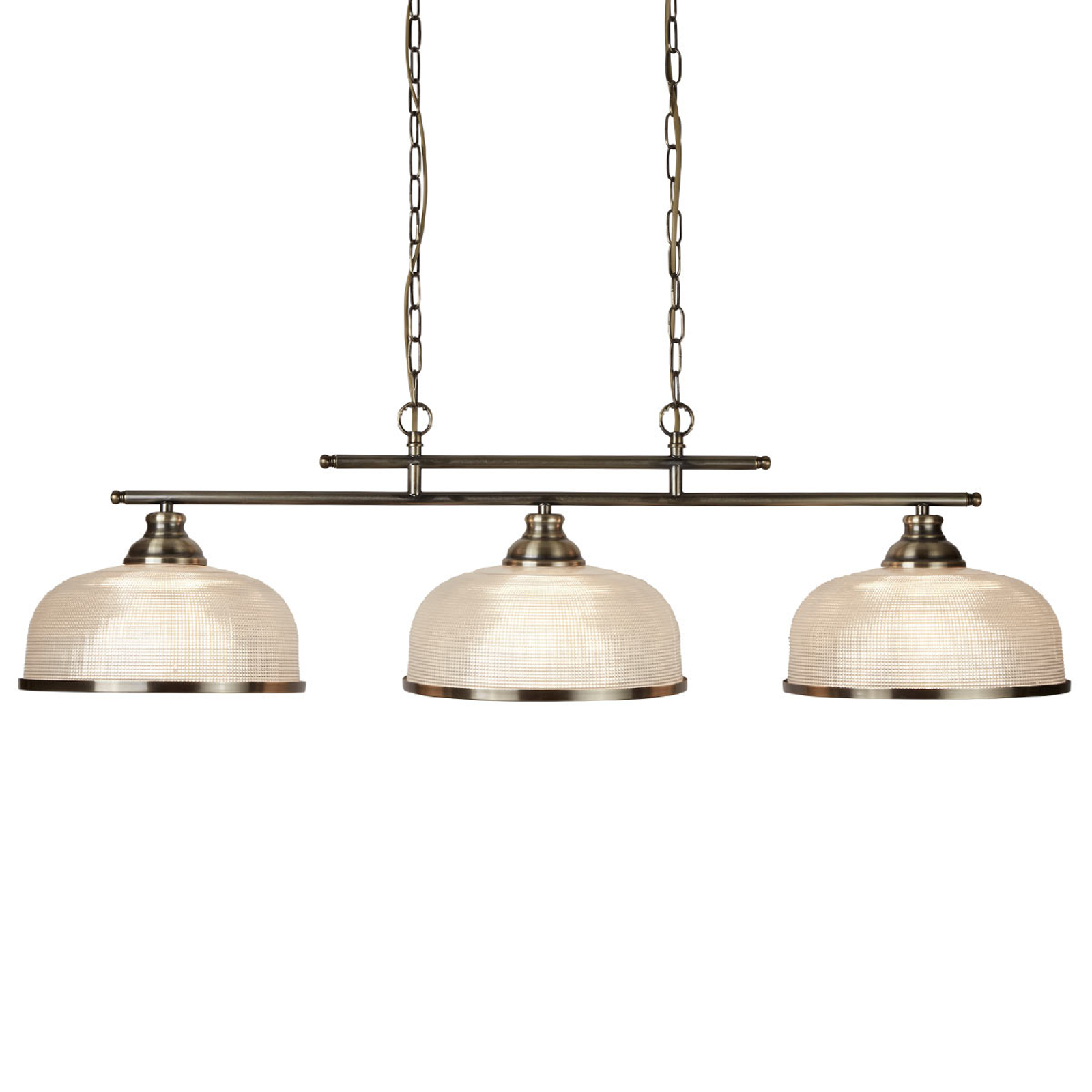 Suspension Bistro II à 3 lampes, laiton ancien