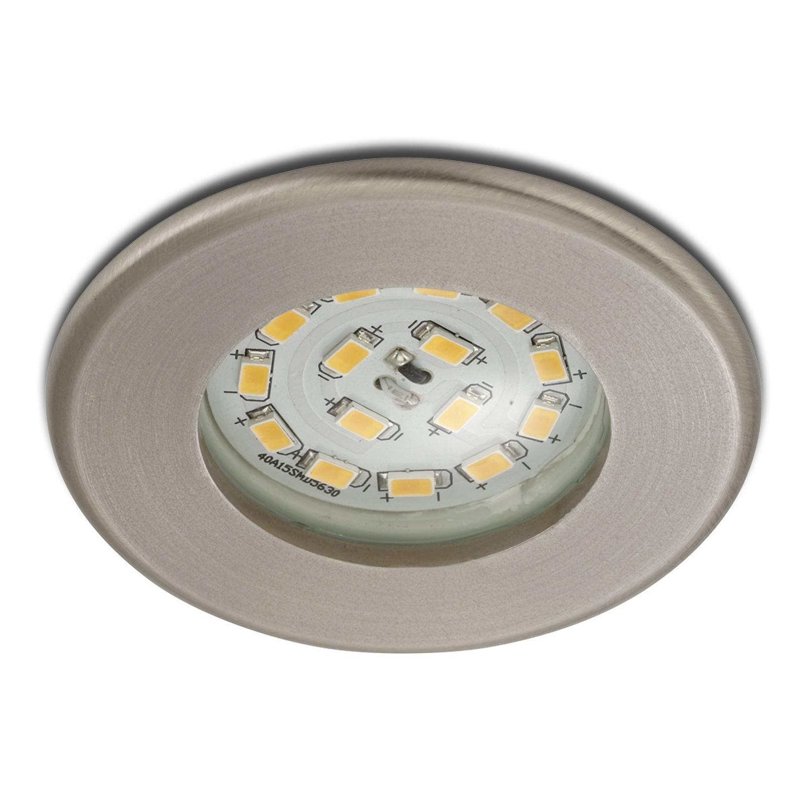 Eficiente foco empotrable LED Nikas IP44, níquel
