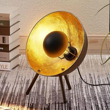 Tischlampe Muriel Dreibein 38cm schwarz/gold