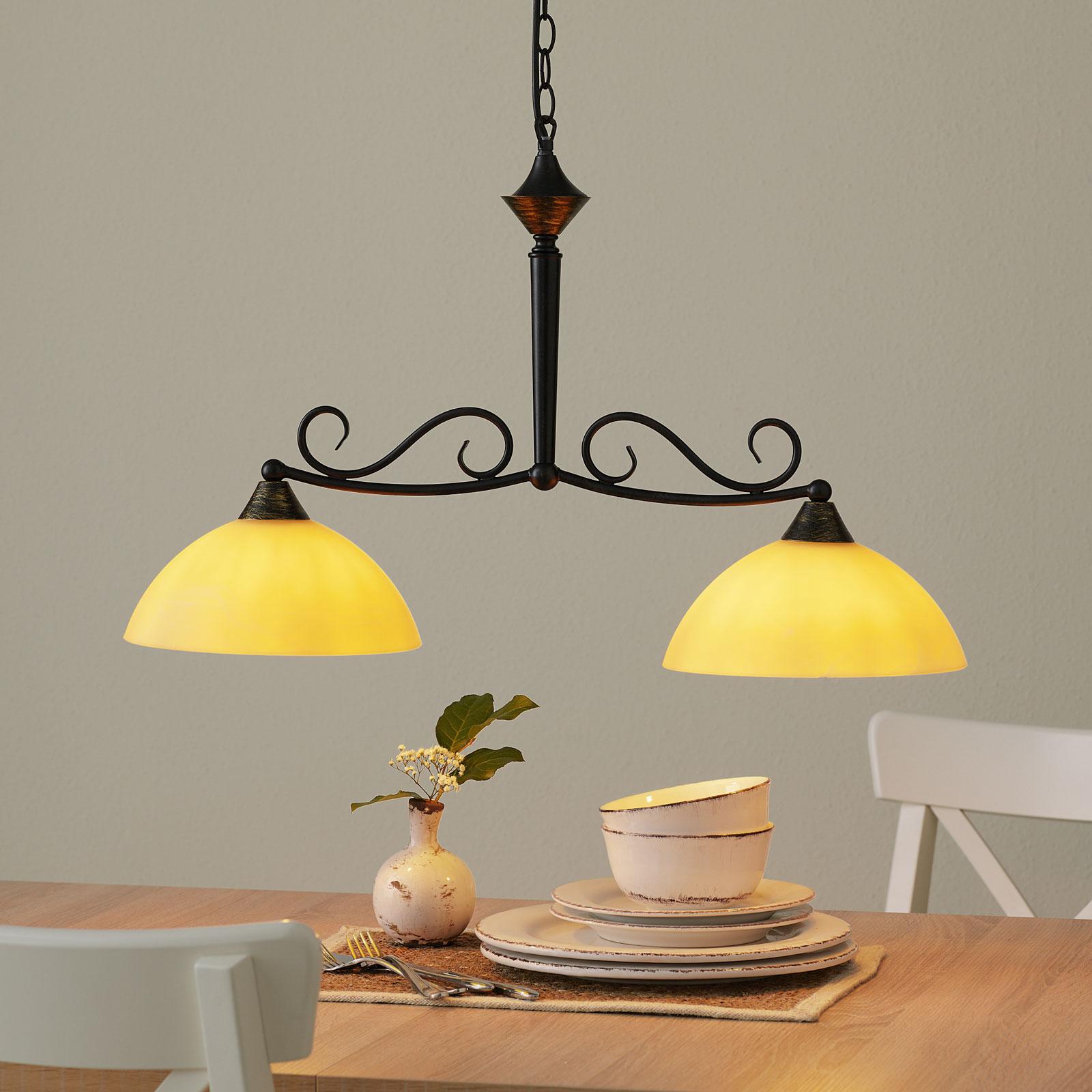 Balk hanglamp Allemagne van glas, 2-lamps