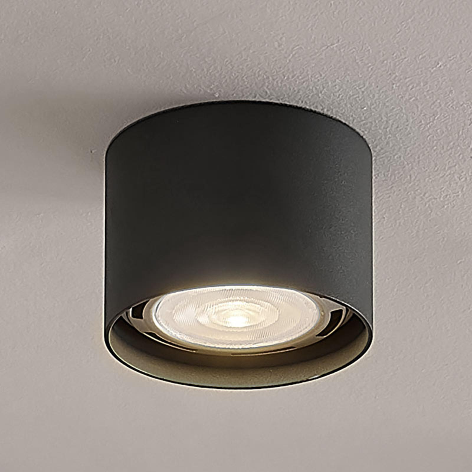 LED-takspot Mabel, rund, mørk grå