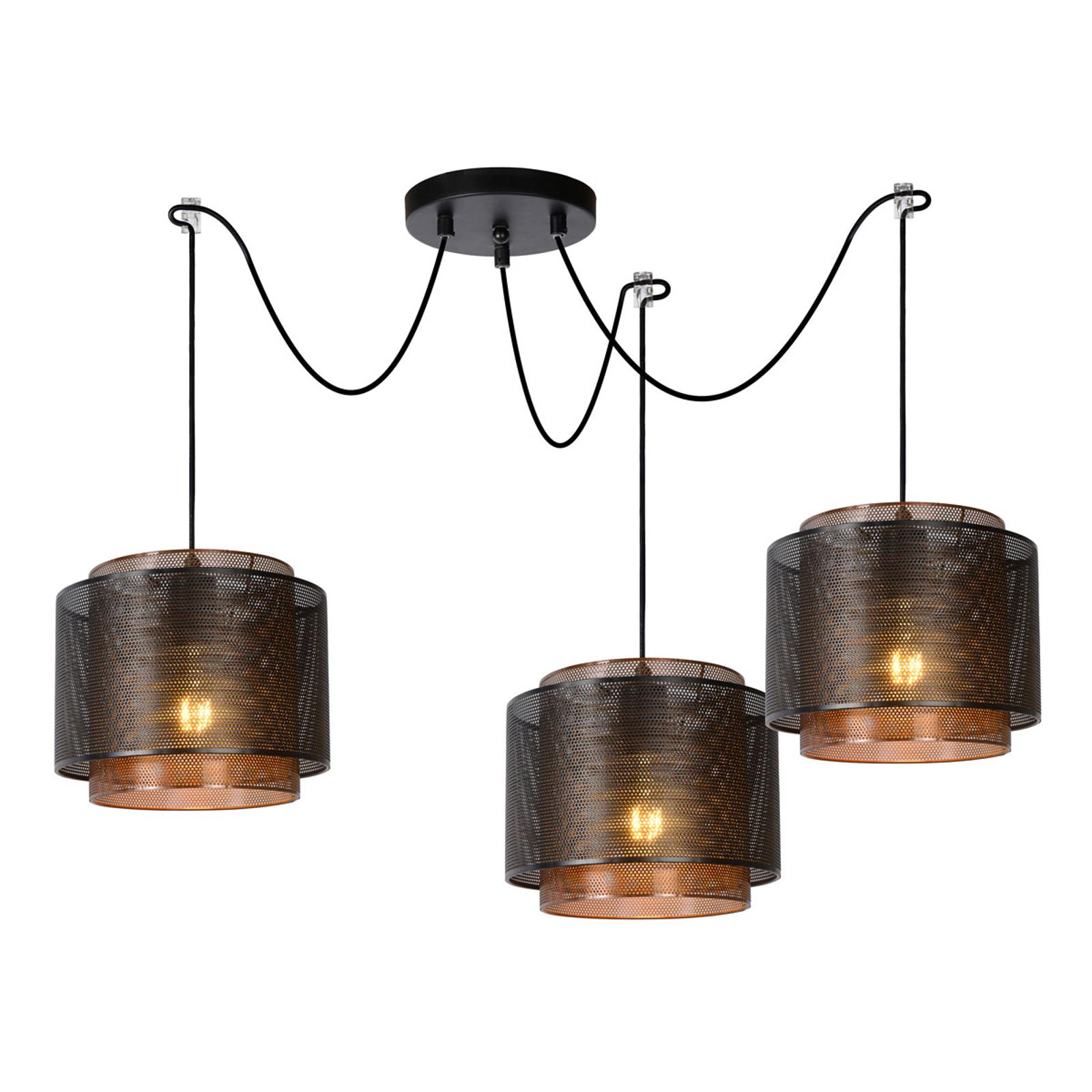 Lampa wisząca Orrin z metalu, 3-punktowa