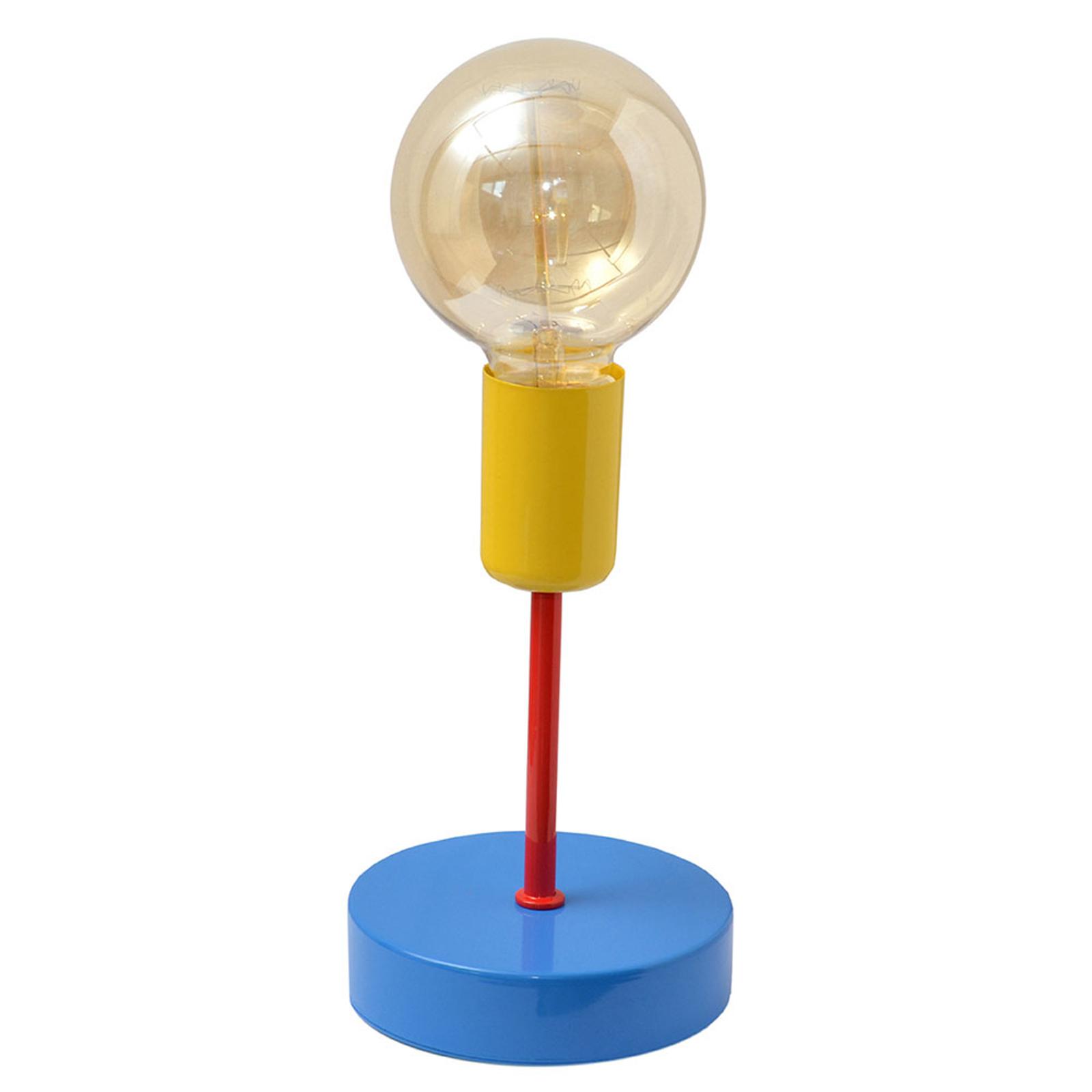 Fargerik bordlampe Oxford, blå/rød/gul
