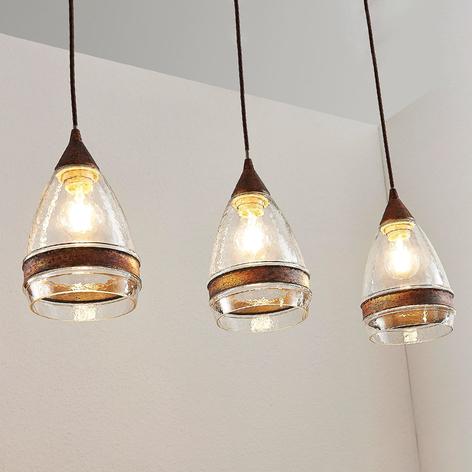 Glazen hanglamp Millina, roestbruin, 3-lamps