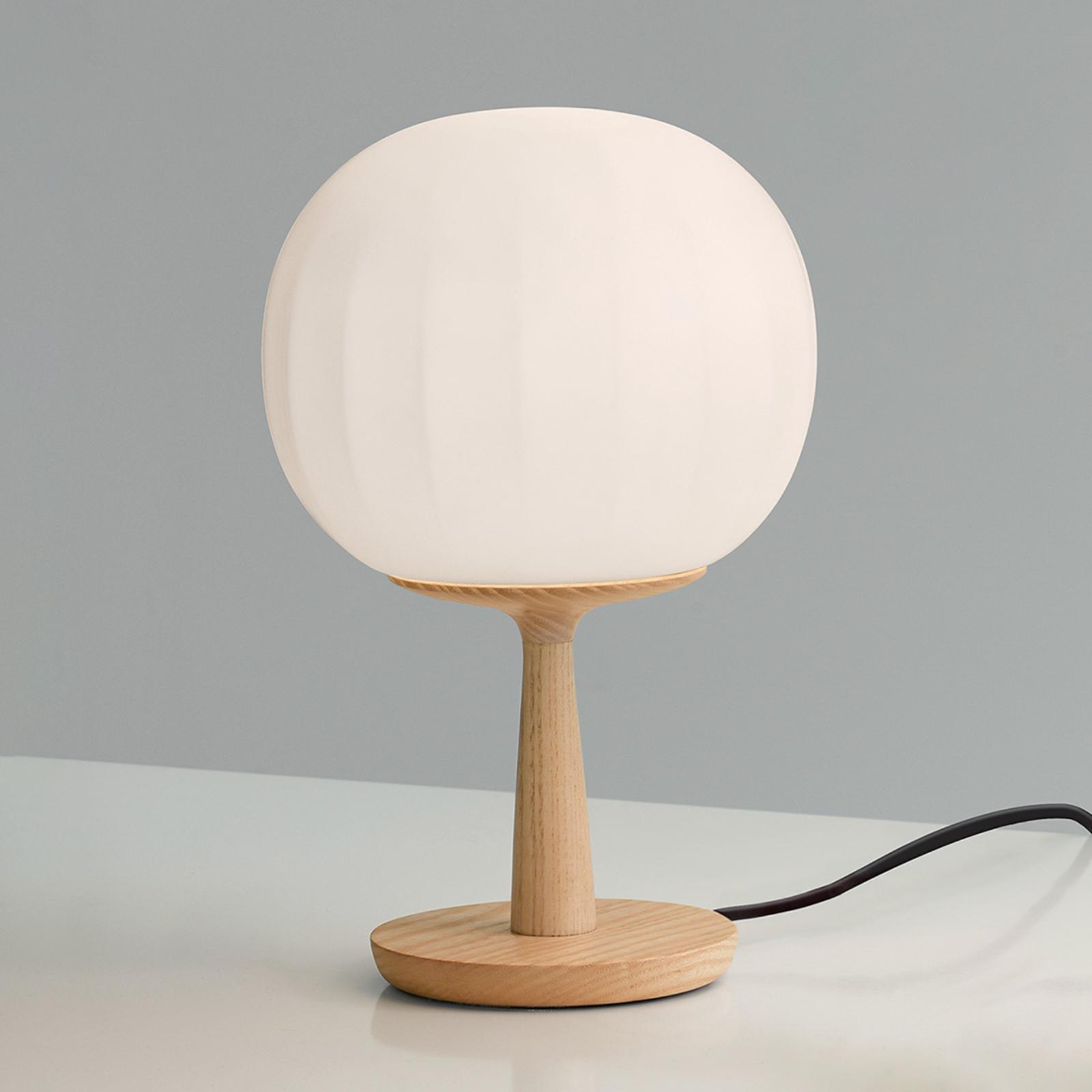 Luceplan lampe à poser Lita pied en frêne 28 cm
