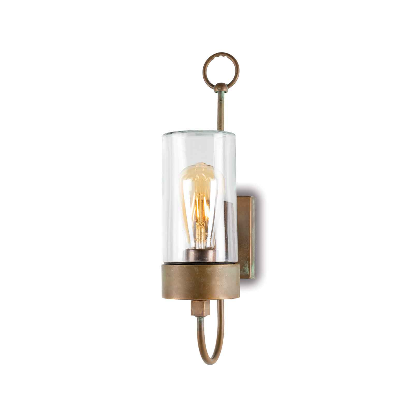 Buitenwandlamp Silindar 3355,messing antiek/helder