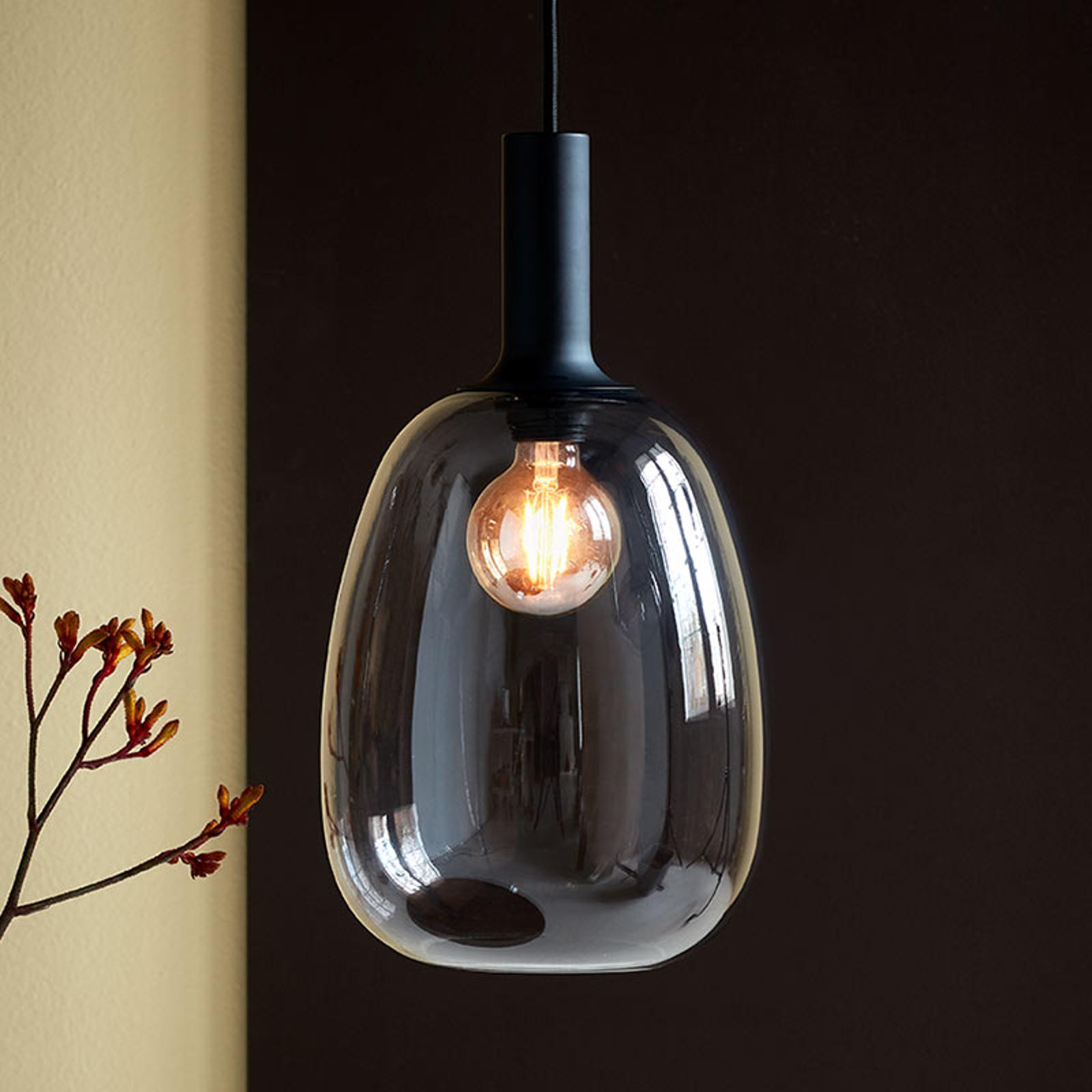 Hanglamp Alton met glazen kap rookgrijs Ø 23cm