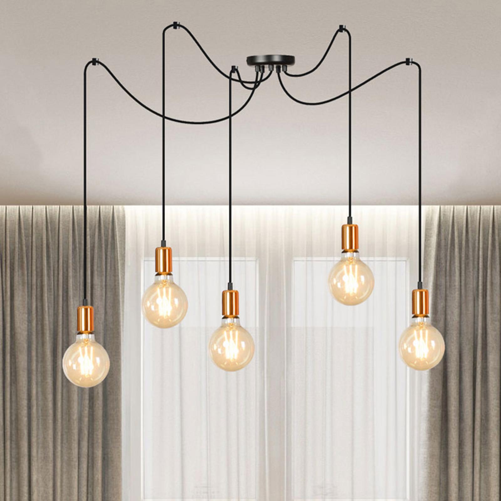 Lámpara colgante Spark 5, 5 luces, negro-cobre